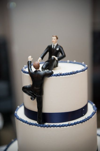 Cake Topper One Male On Top Of The Cake The Other Climbing Up To