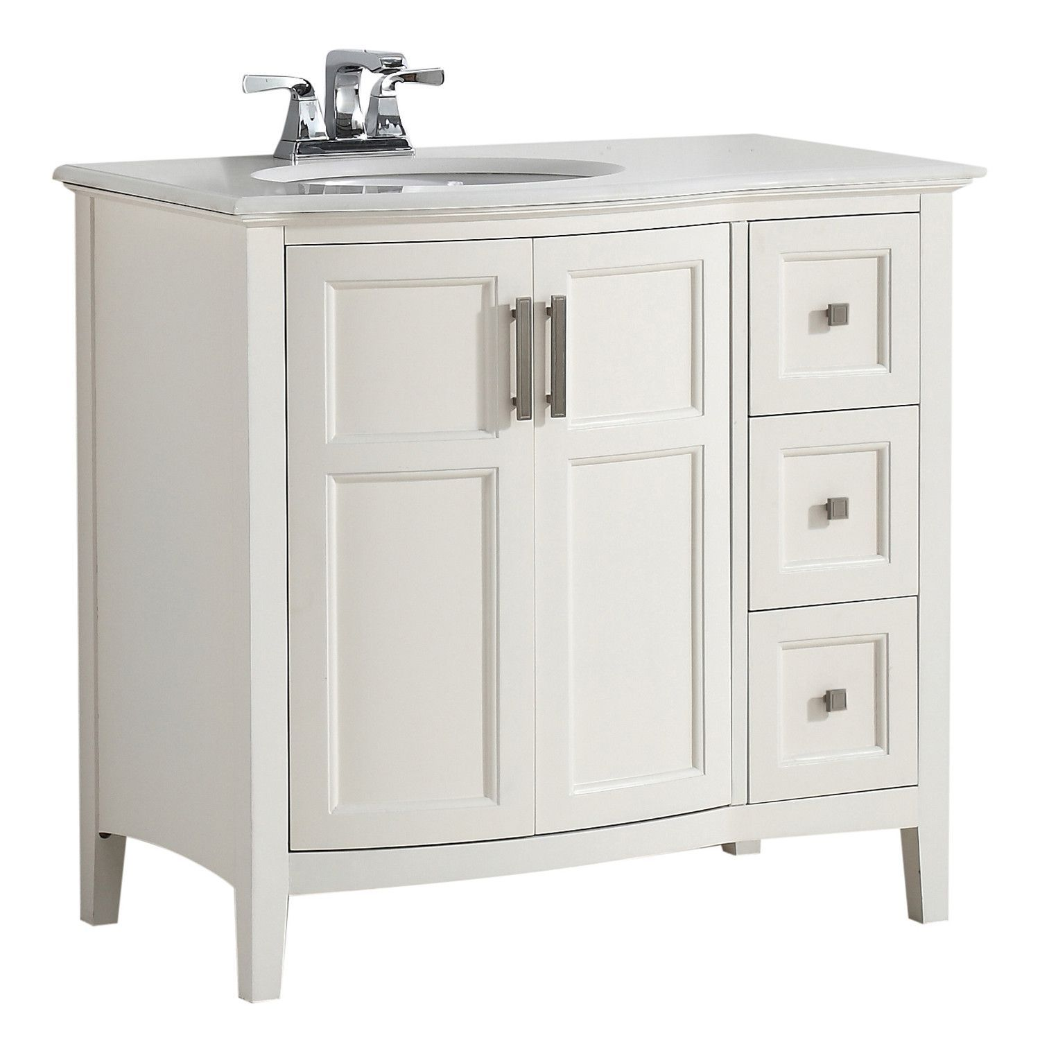 Winston 36 Inch Rounded Front Bath Vanity With Bombay White Engineered Quartz Marble Top Marble Vanity Tops Single Sink Bathroom Vanity Bath Vanities
