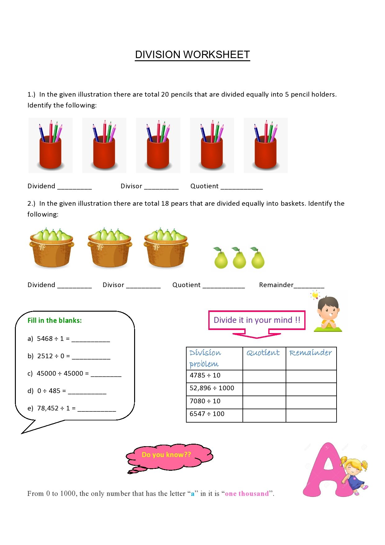 Division Worksheet In