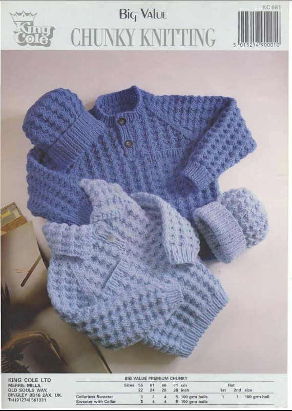 e2dcc6fa7 Vintage PDF Childrens Knitting Pattern - King Cole 681 - sweater hat  Instant Download on Etsy, £0.75