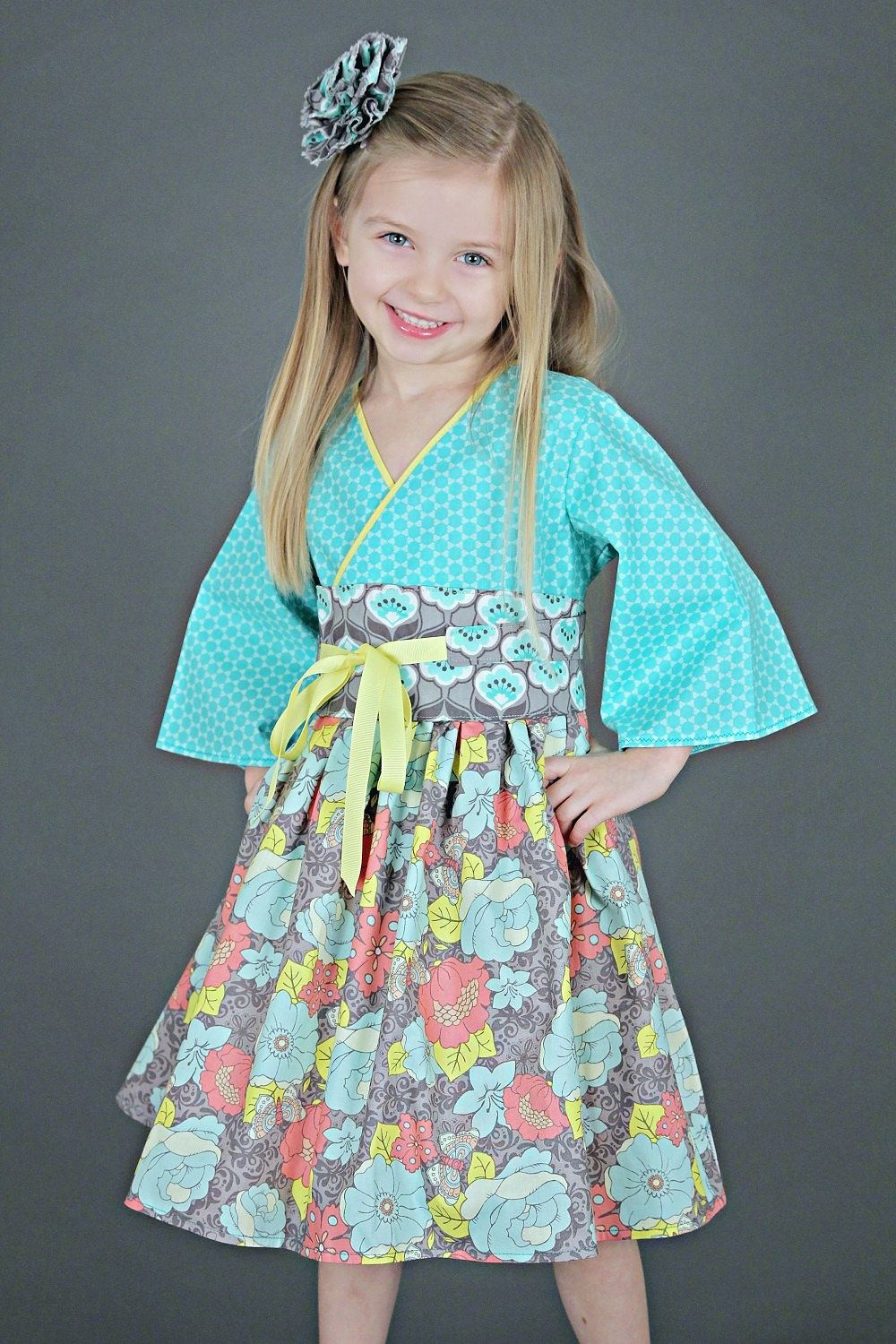 c145375bb New to PinkMouseKids on Etsy: Boutique Dress - Girls Birthday Dress - Aqua  Dress - Girls Kimono - Little Girl Dresses - Toddler Dress - sizes 2T to 7  years ...