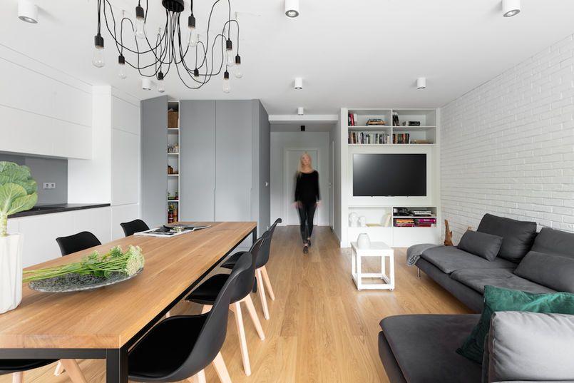 Salon Otwarty Na Przedpokoj Modern Apartment Design Apartment Modern Apartment