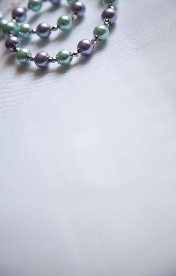Aqua and Purple Glass Pearl Necklace with by SewShenanigansByMeg, $20.00