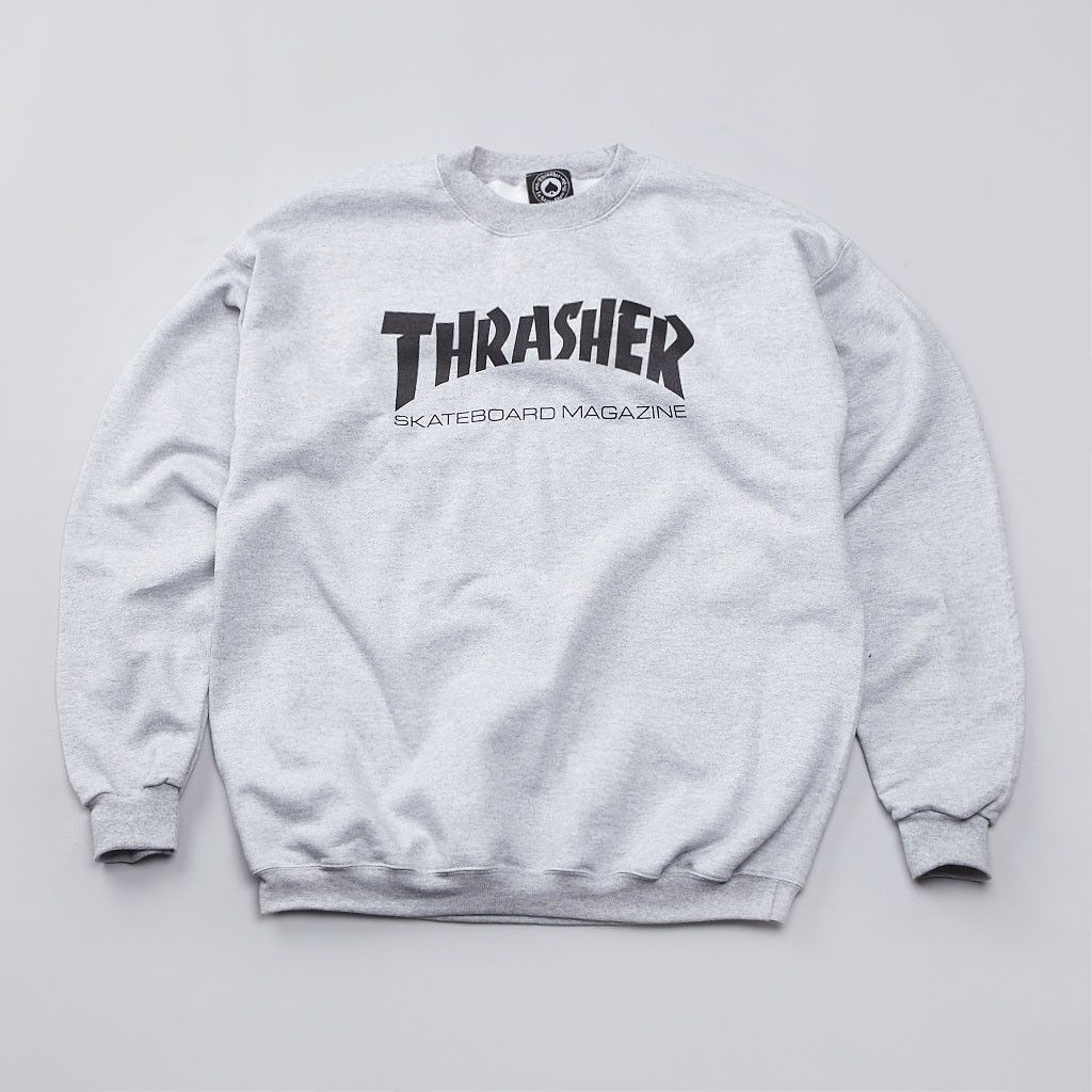 9b5f29ea6ee Thrasher Skate Mag Logo Crewneck Sweatshirt - Heather Grey ...