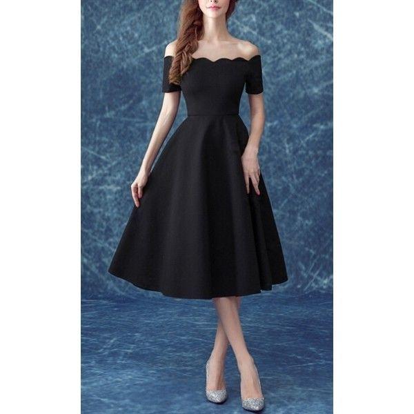 ded3edad40 Black Off The Shoulder V Cut Zipper A-Line Dress ($51) ❤ liked on ...