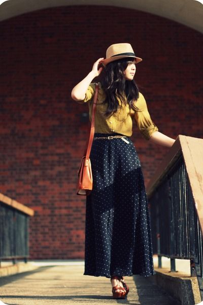 """Navy Silk Maxi Skirt Vintage Skirts, Tan Fedora Forever21 Hats 
