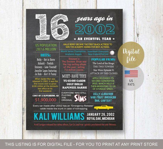 16th birthday gift for son - Fun Facts 2003 sign - Personalized 16th Birthday Gift Idea for brother, him, boyfriend, boy - DIGITAL file,  #16th #16thBirthdayQuotes #Birthday #Boy #Boyfriend #Brother #digital #Facts #file #Fun #gift #idea #personalized #Sign #Son