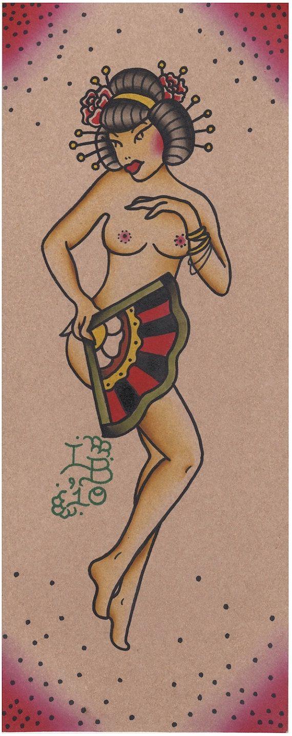 488375865 Geisha Girl Pin Up $7 #etsy #geisha #japanese #art #japaneseart #forsale  #originalartwork #retro #pinup #pinupgirl #asian #tattoo #traditionaltattoo  # ...