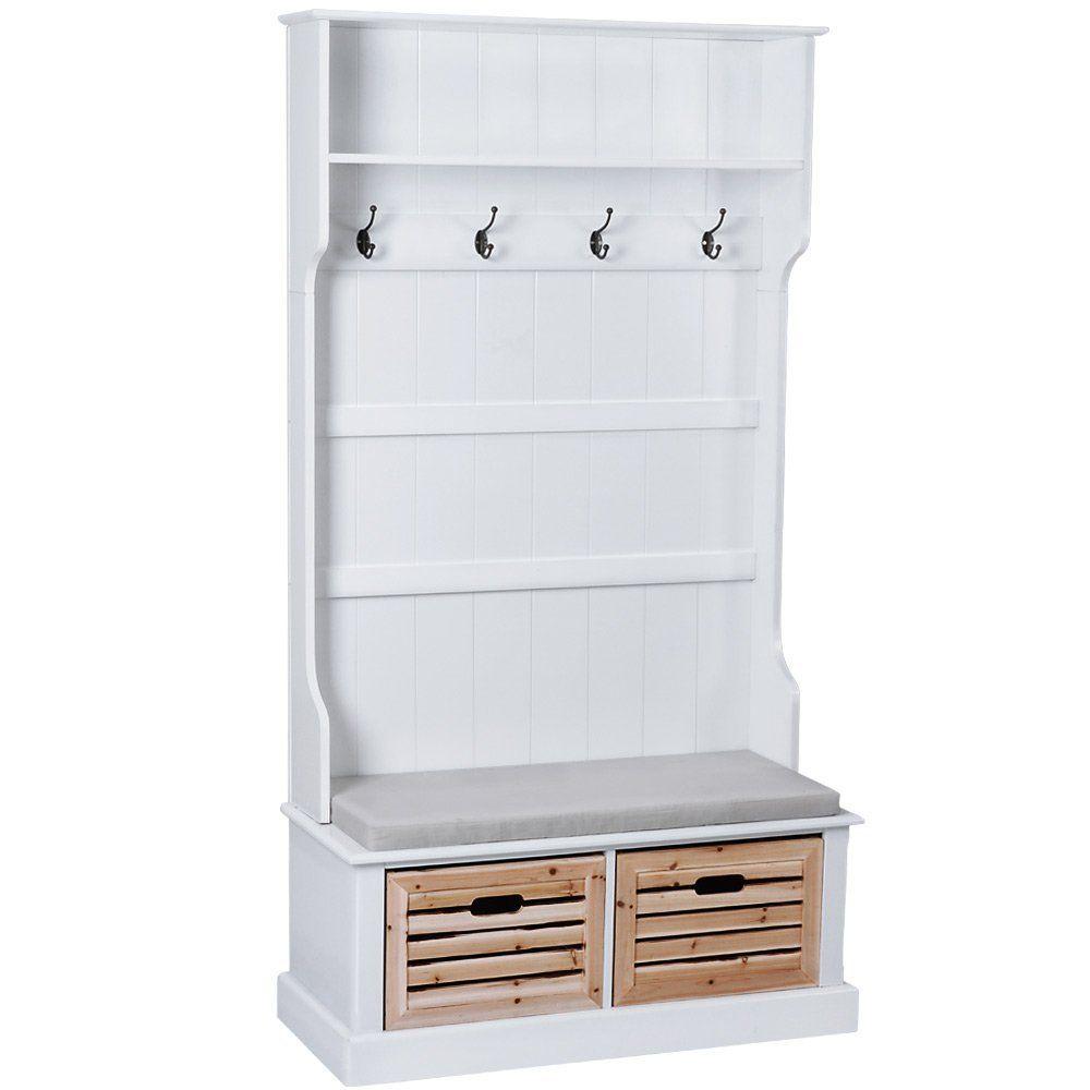 landhaus garderobe mit sitzbank inkl sitzkissen 2 holzboxen und 4 haken garderobenschrank. Black Bedroom Furniture Sets. Home Design Ideas