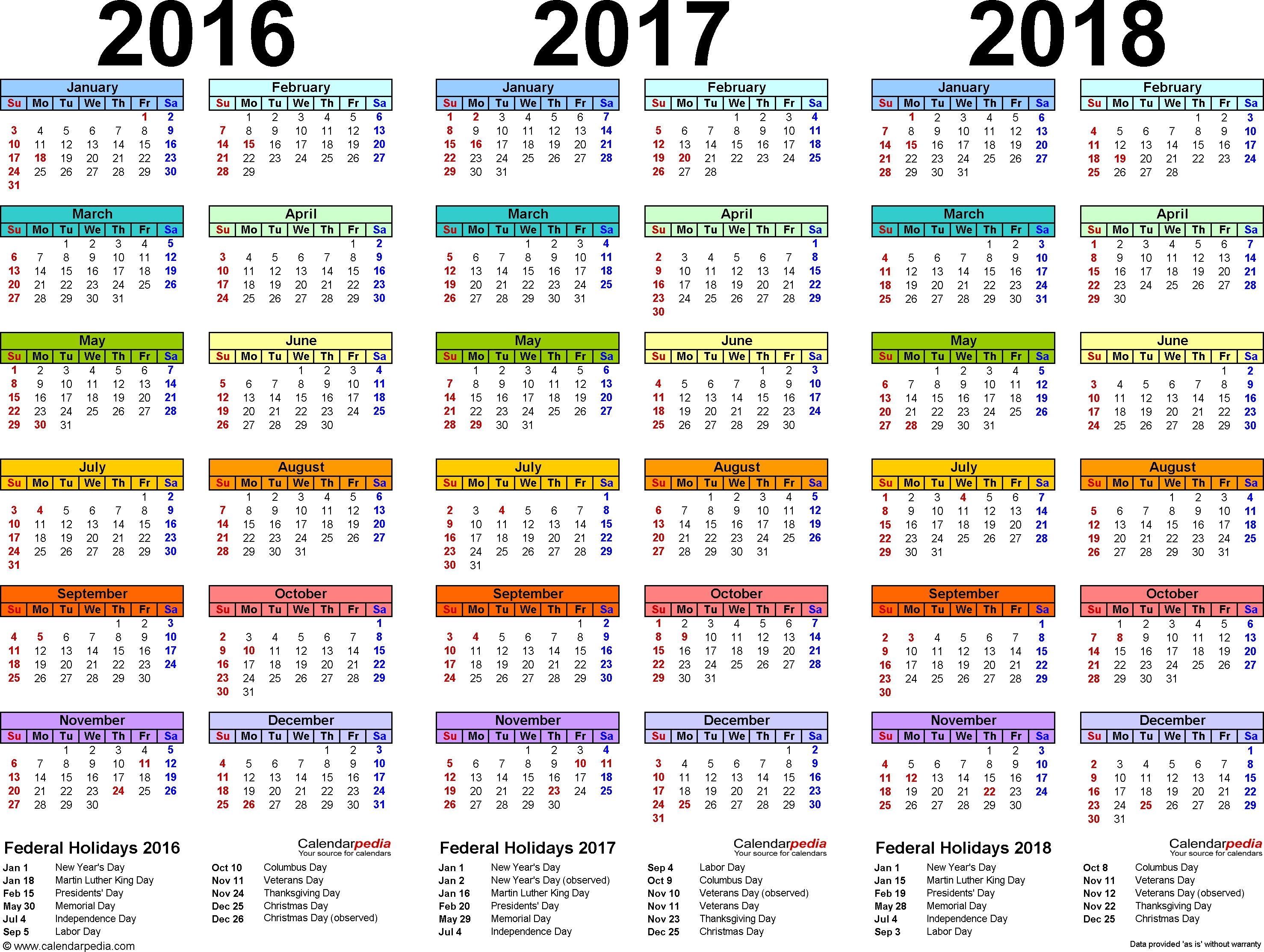 3 Year Calendar With Holidays In 2020 Calendar Printables Blank Calendar Template Calendar Pdf