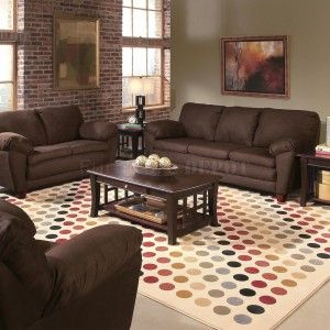 Enchanting Living Room Design With Maroon Exposed Brick Wall And Brown Painted Wall Also Cozy Ma Brown Living Room Living Room Colors Living Room Color Schemes