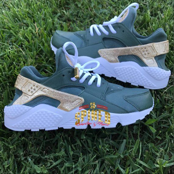 Custom Olive Green and Gold Glitter Nike Air Huaraches with glitter logo ( Women   Men sizes - contac 8637ef858a