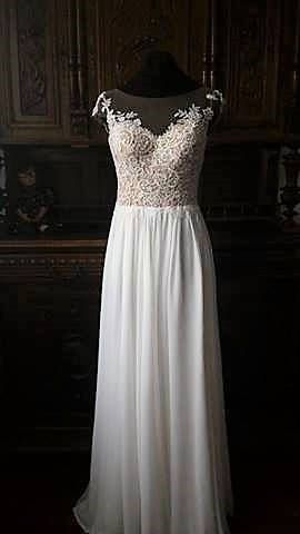 vintage inspired wedding dress with lace corset illusion