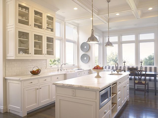 stunning white white kitchen with chrome pendant lights big windows and stripe breakfast nook. beautiful ideas. Home Design Ideas