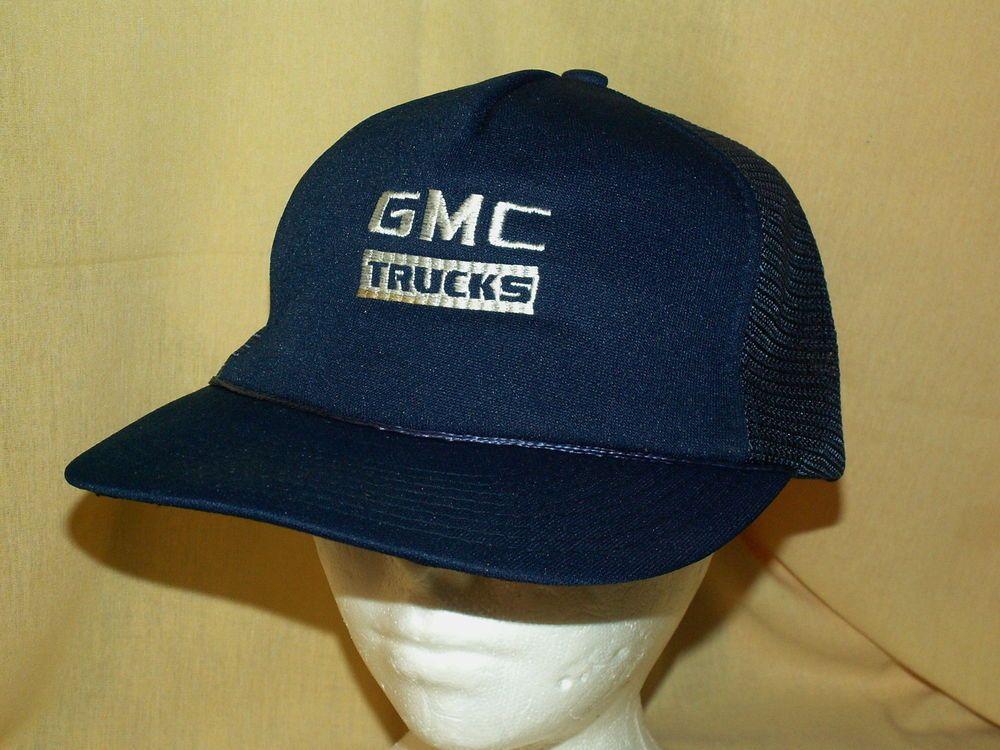 05eb76a37cf53a GMC TRUCKS HAT VINTAGE FOAM NAVY BLUE SUMMER MESH ADJ SNAPBACK USED VINTAGE  CAP