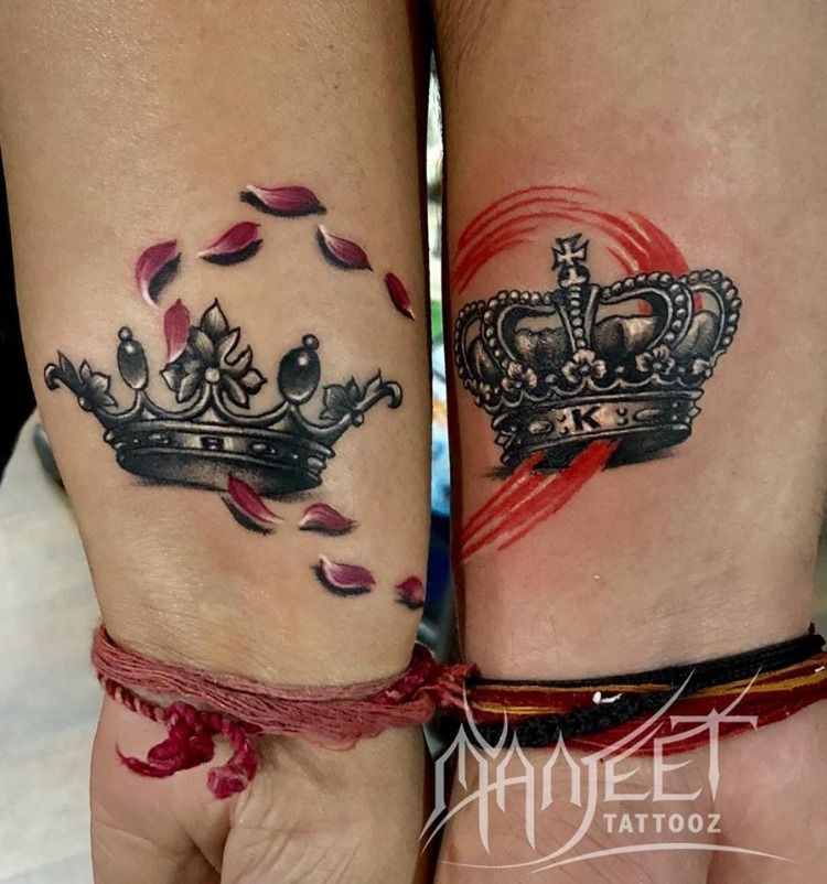 """""""Love can be defined in infinite ways; you being my queen and I your king is one"""" To love. Small crown couple tattoo. #artistoninstagram #colouredtattoo #coupletattoo #manjeettattooz #crowntattoo #hearttattoo #manjeettattooznewdelhi #tattoos #tattoo #sullenclothing #ink #inks #inked"""
