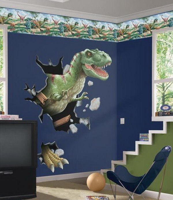 Boys room with dinosaurs wall mural kids bedroom for Dinosaur bedroom ideas boys