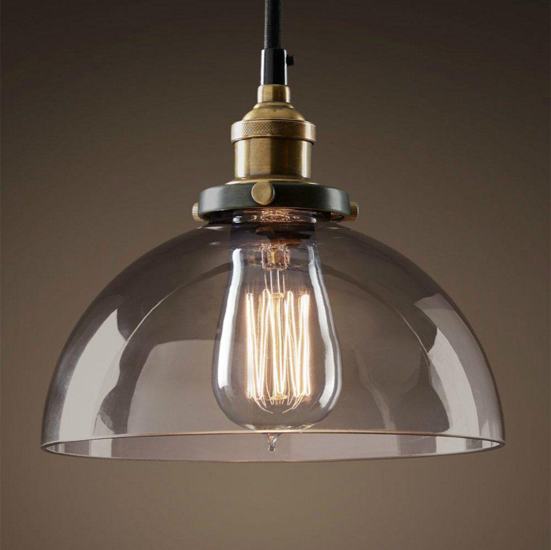 PureLumeTM Vintage Antik Smoke Sphere Retro Lampe Mit Glas Glocke Und Nostalgie 40W Gluhbirne