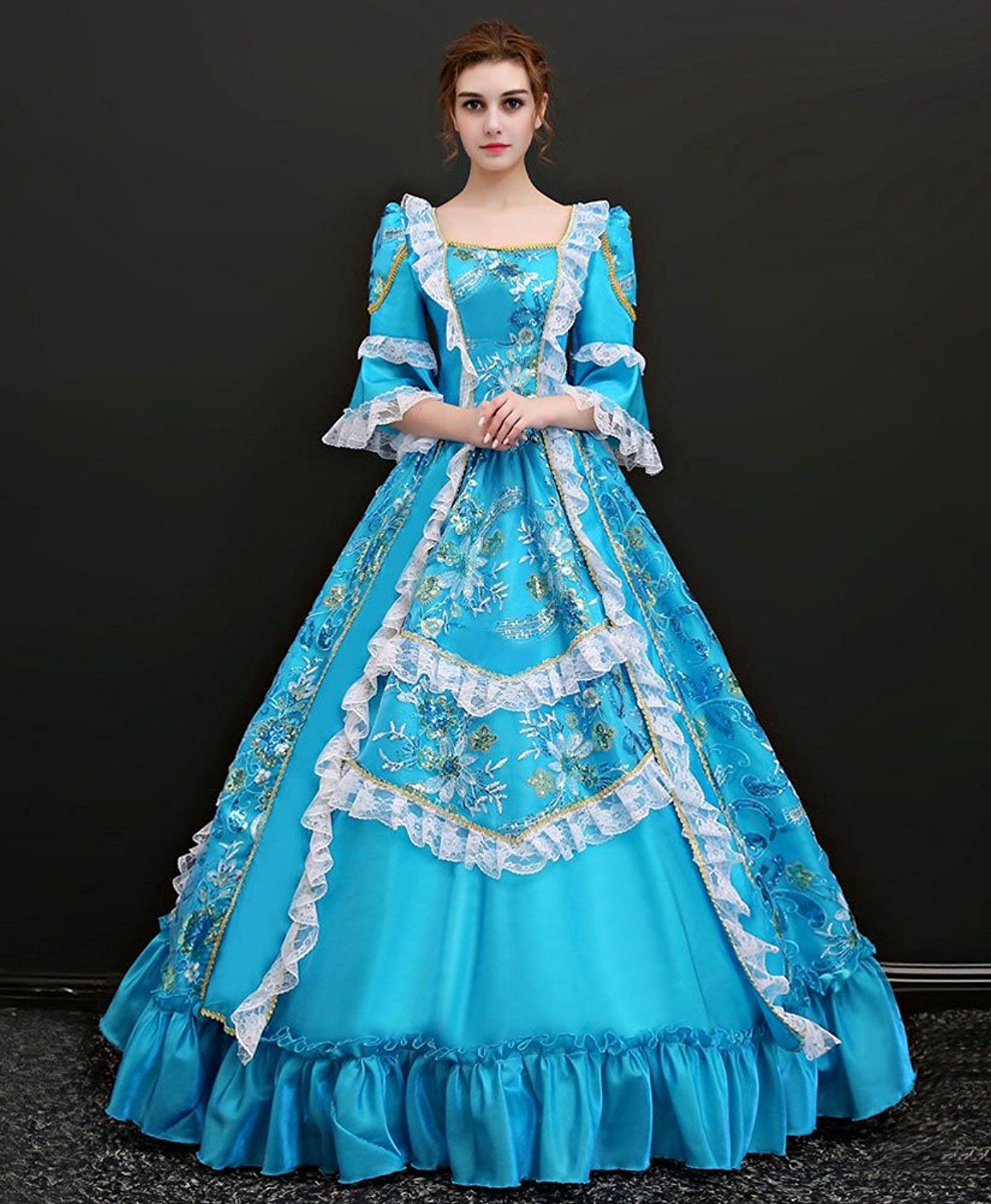 38dc11f7a2830 Amazon.com: Zukzi Women's Floor Length Victorian Dress Costume Masquerade  Ball Gowns: Clothing