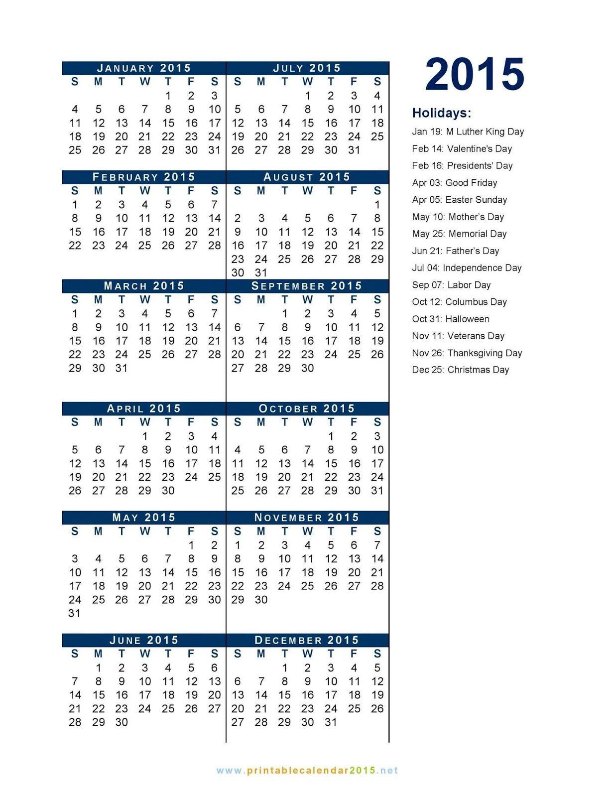 Federal holidays calendar printable calendar template