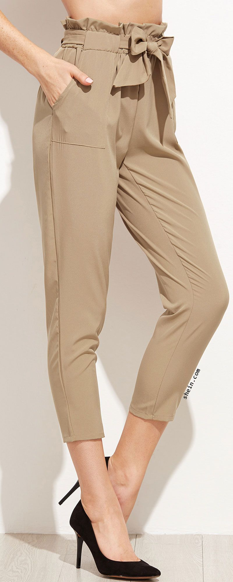 de47698e30 Khaki Tie Waist Ruffle Peg Pants | Love to Wear | Tie waist trousers ...