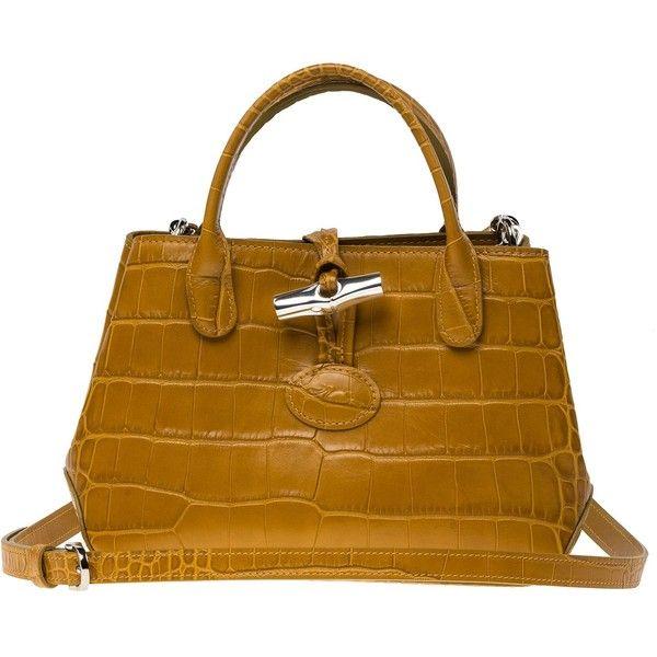 Longchamp Roseau Croco Shoulder Bag 200 Liked On Polyvore Featuring Bags Handbags