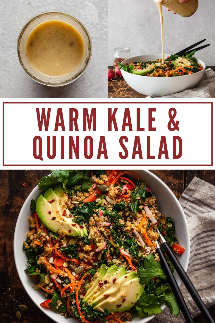 Warm kale and quinoa salad
