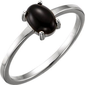 14kt White 8x6mm Oval Onyx Cabochon Ring