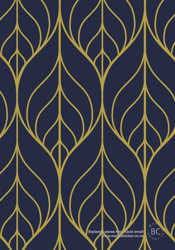 Removable Wallpaper Peel And Stick Wallpaper Leaf Wallpaper Etsy In 2021 Navy Wallpaper Leaf Wallpaper Art Deco Pattern