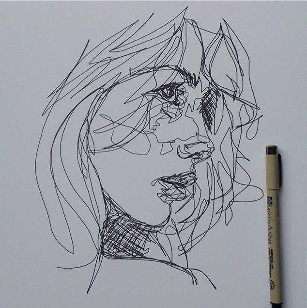 Contour Line Drawing Face : Visages d artiste dessines idées sur le thème