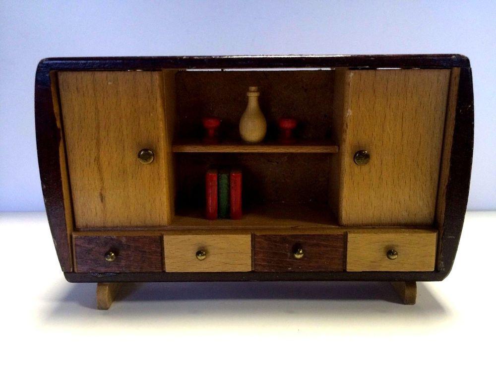Puppenmöbel Crailsheimer Wohnzimmer Schrank Holz 50er Jahre + Bücher +  Gläser | Antiquitäten U0026 Kunst,