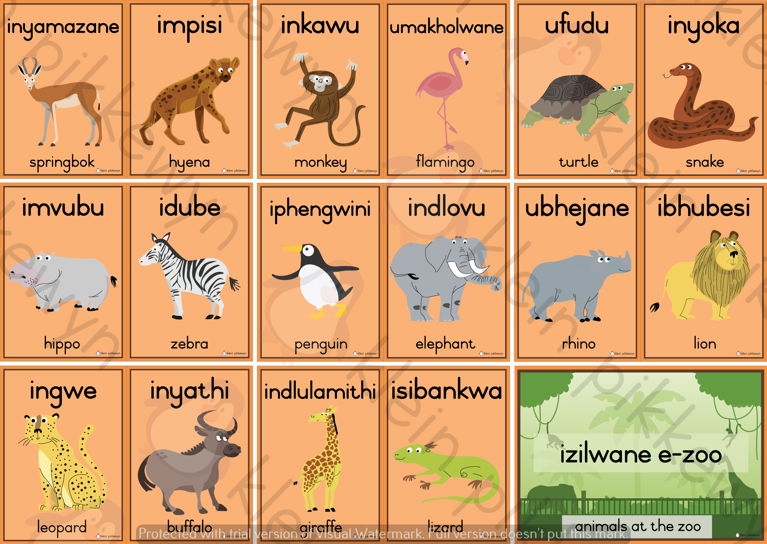 Isizulu Eng Izilwane E Zoo Zoo Animals Zoo Animals Zulu Language Animals