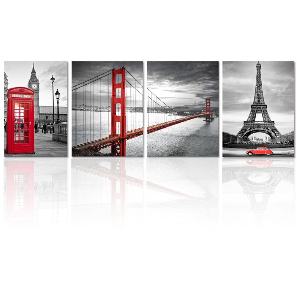 4 Pieces City View Canvas Prints Golden Gate Bridge Canvas Painting Black And White Wall Picture For Living Roo Framed Canvas Wall Art Wall Canvas Big Wall Art