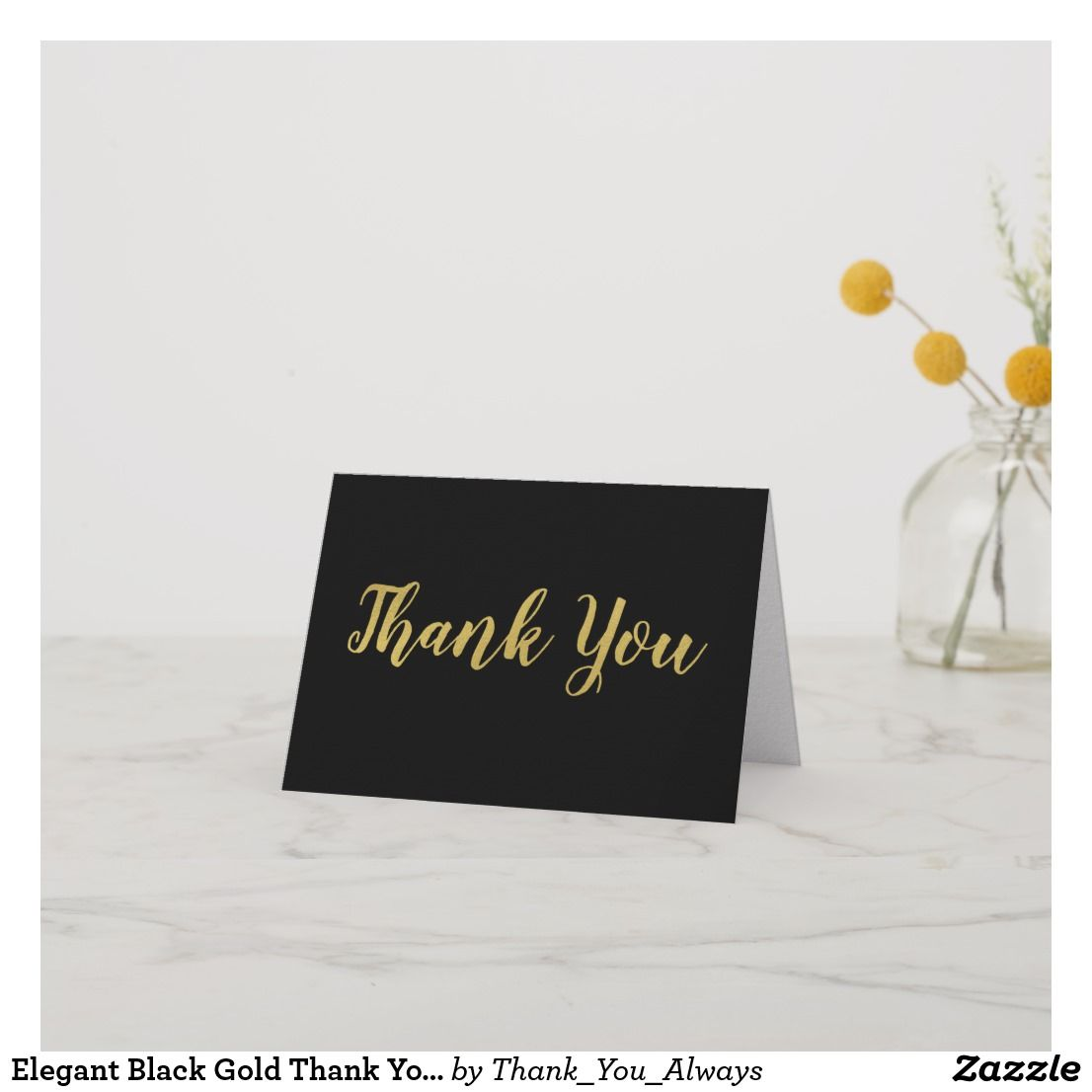 Elegant black gold thank you card custom