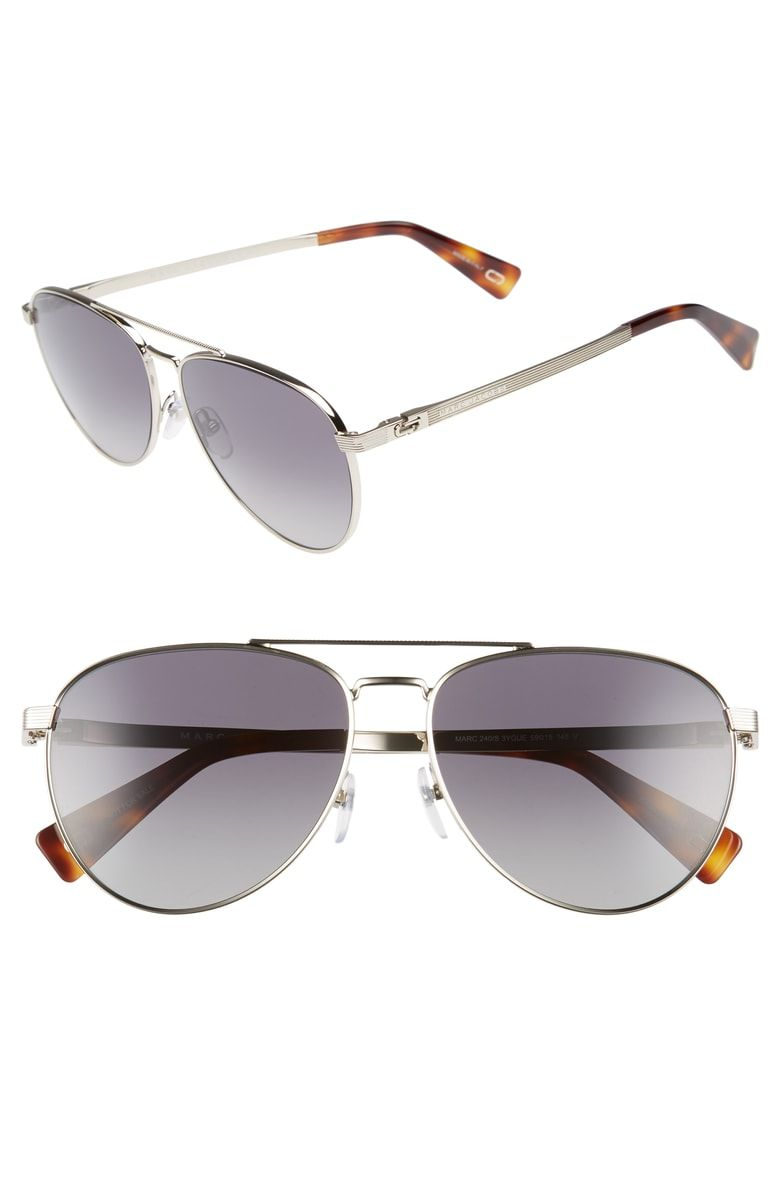 82332060f9a2f Free shipping and returns on MARC JACOBS 59mm Polarized Aviator Sunglasses  at Nordstrom.com. Subtle etching textures slim