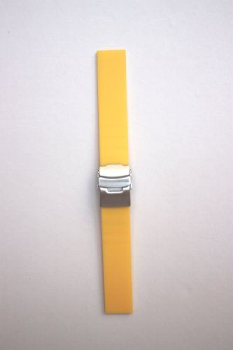 Toscana 18mm Yellow Plain Smooth Rubber/Silicone Watchband with S/S