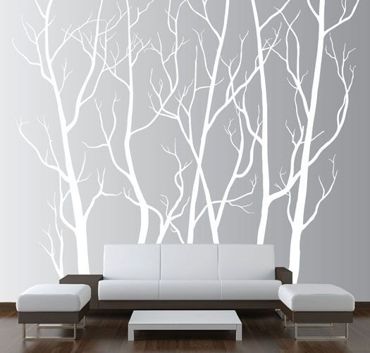 Large Wall Art Decor Vinyl Tree Forest Decal Sticker (choose size and color) & Realistic Winter Tree Wall Decal Headboard Wall Decal Home Decor ...