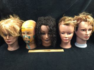 ASSORTMENT OF COSMETOLOGY MANICURE SALON PRACTICE HAIRDRESSING TRAINING HEADS