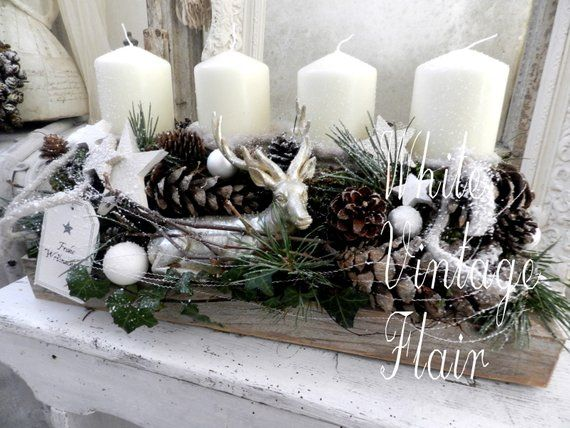 advent wreath deer in the forest shabby chic landhouse. Black Bedroom Furniture Sets. Home Design Ideas
