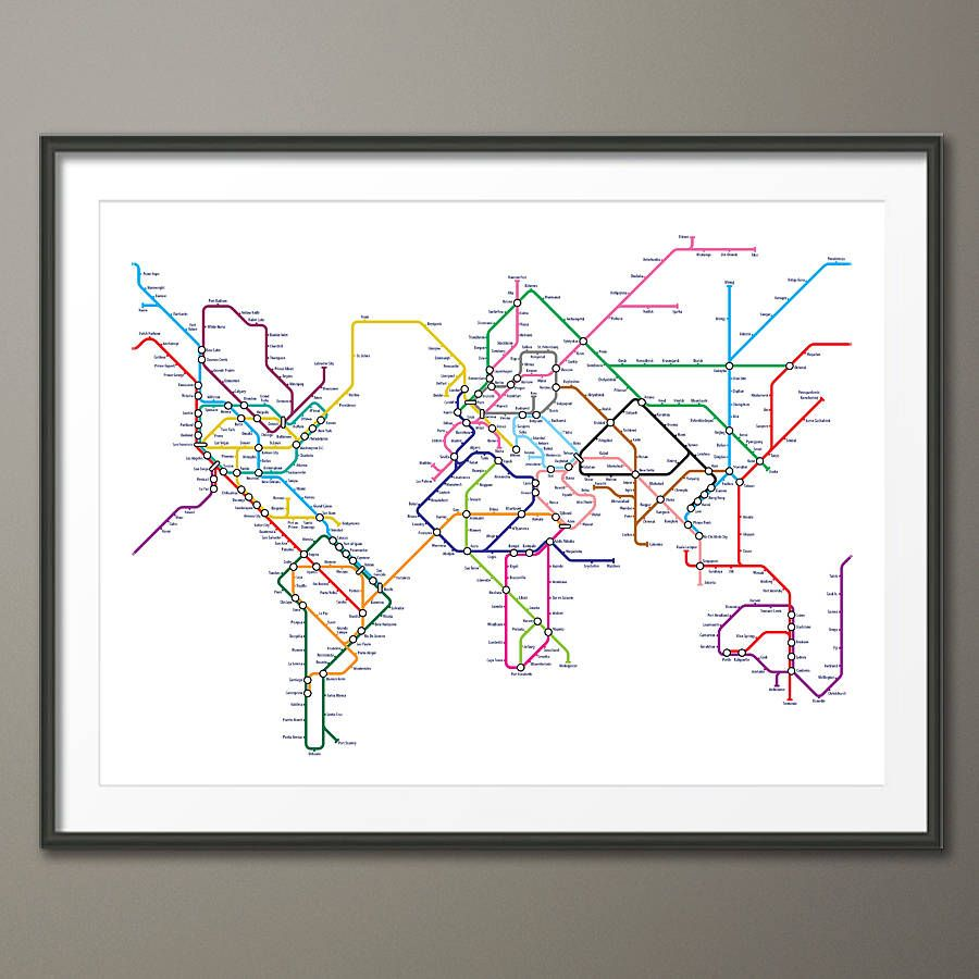 Map art google search a r t s y pinterest art google and artwork world map as a tube metro subway system art print by artpause gumiabroncs Gallery