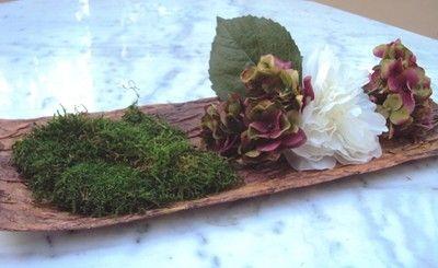 Composition feuille tabac mousse naturelle préservé PIVOINE fleurs artificielles