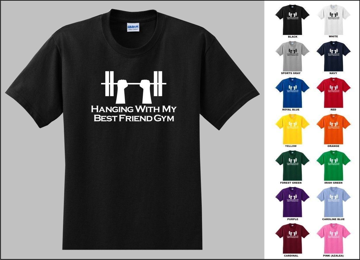Black t shirt ebay - Details About Hanging With My Best Friend Gym Funny Work Out Lift Weight Bench Press T Shirt