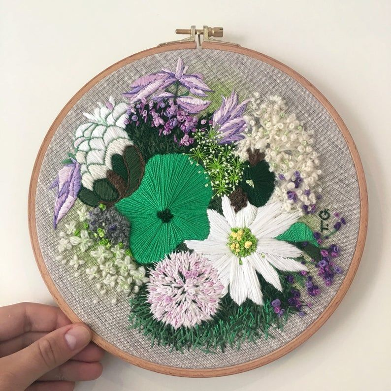 Contemporary embroidery hoop art 9x9 large etsy in 2020