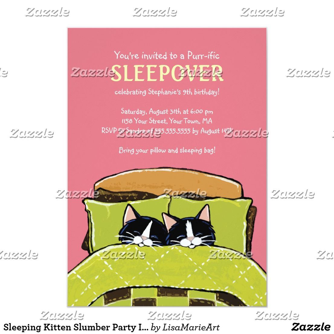 Sleeping Kitten Slumber Party Invitations Zazzle Com Slumber Party Invitations Slumber Parties Sleeping Kitten