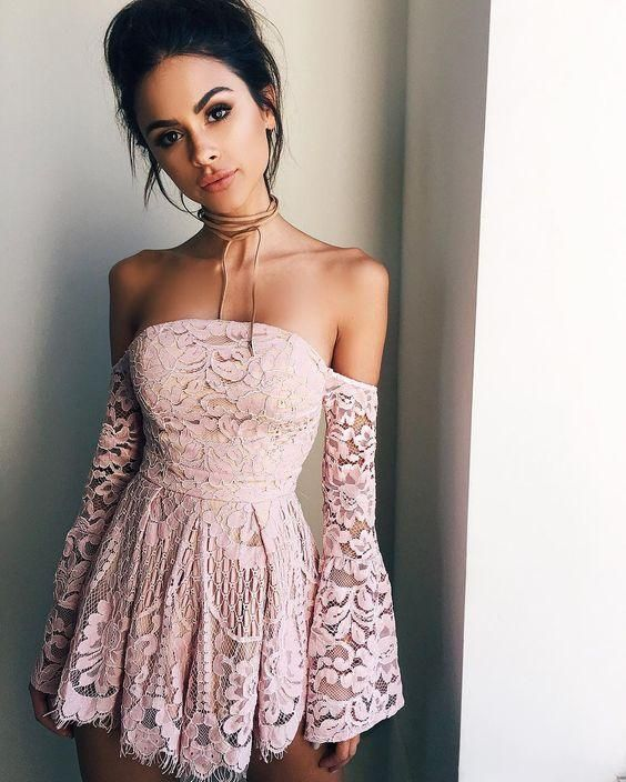 A-Line Off-the-Shoulder Long Sleeves Short Blush Lace Cocktail Homecoming Dress 2020 – As Photo / US8
