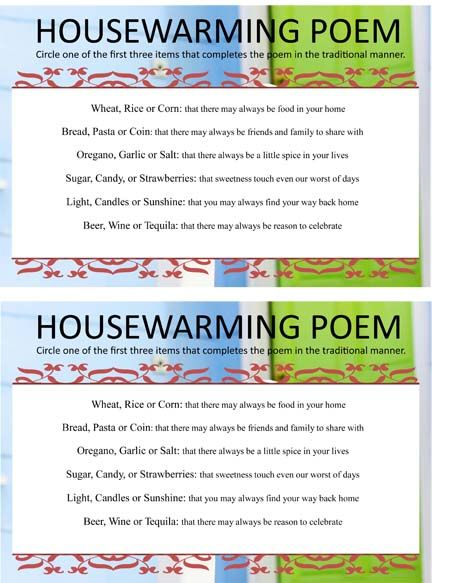 Housewarming poem game sheet needed to the housewarming for Housewarming party game ideas