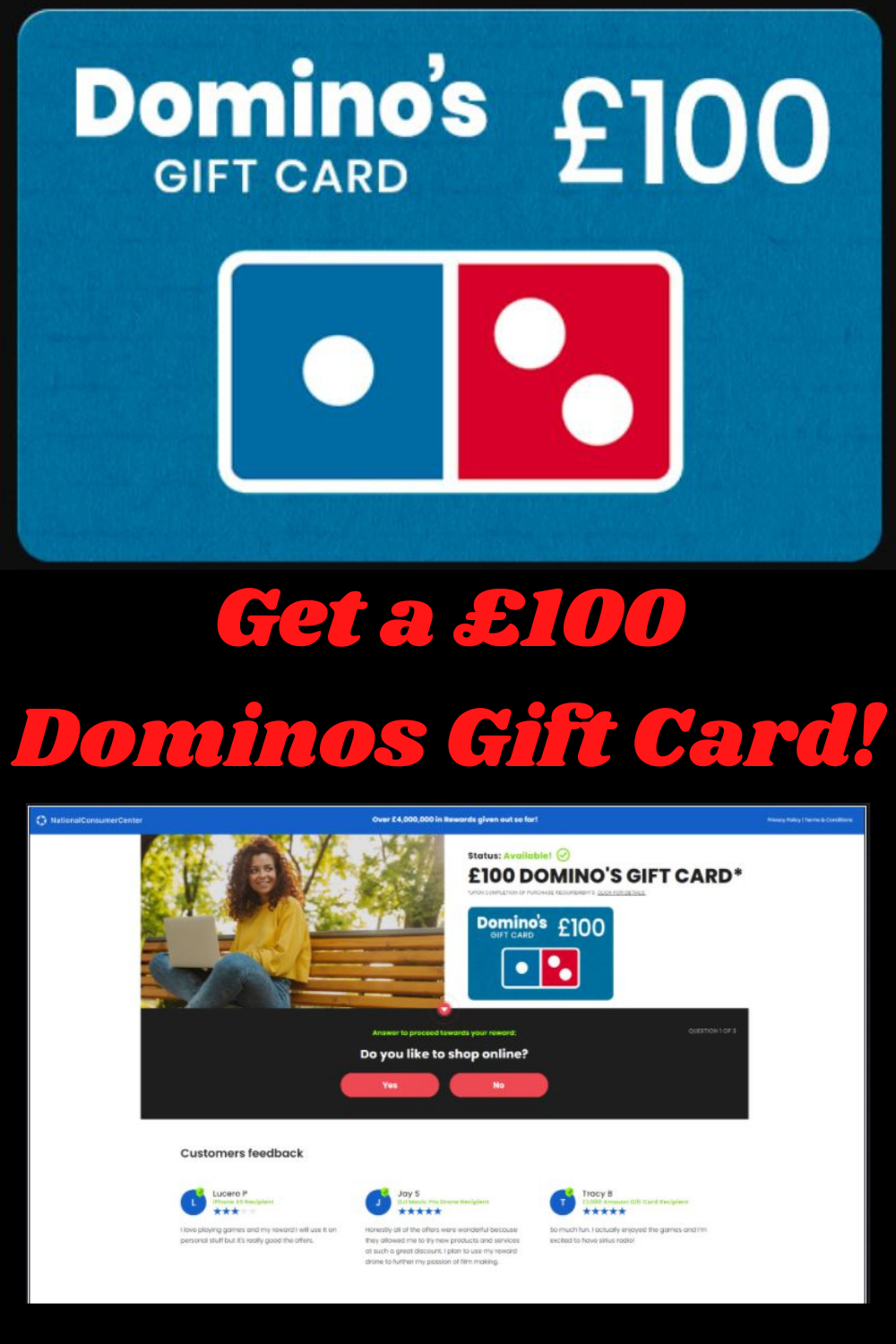 Dominos 100 Get A 100 Dominos Gift Card For Uk Gift Card Generator Amazon Gift Card Free Itunes Gift Cards