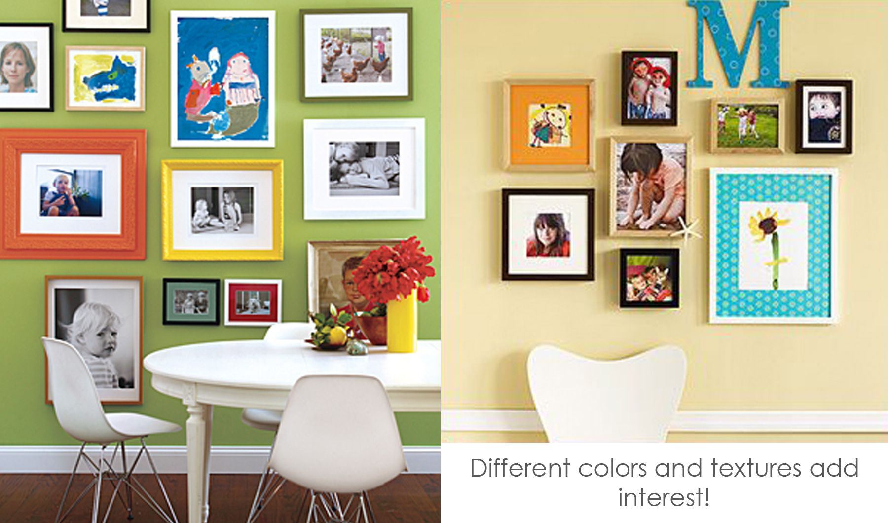 colourful gallery wall of mixed photos and drawing | home decor ...