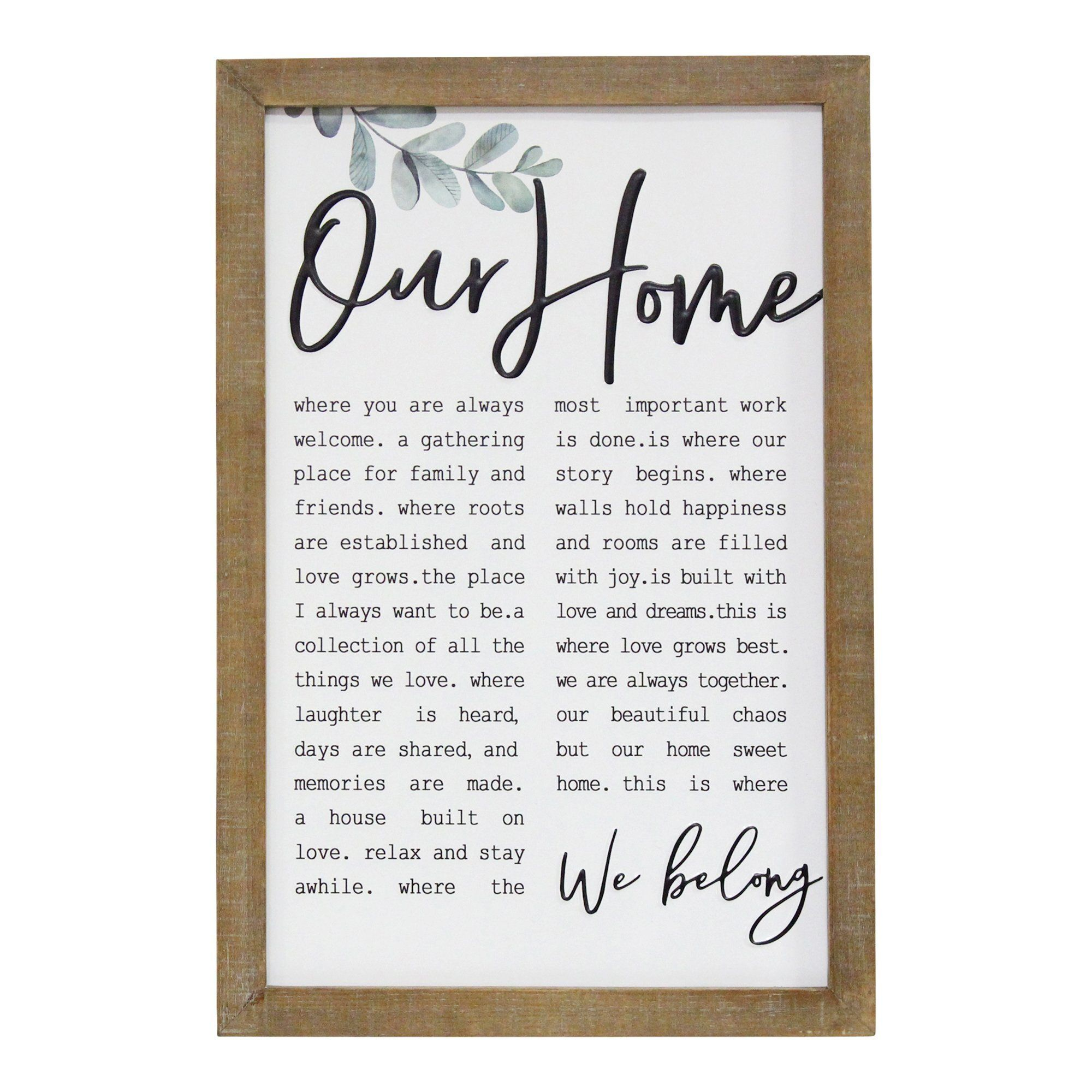 """Photo of """"Our Home"""" Metal & Wood Framed Wall Art"""