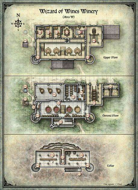 Winery RPG table top game map, great for D&D or Pathfinder